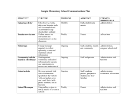 Sample Elementary School Communications Plan