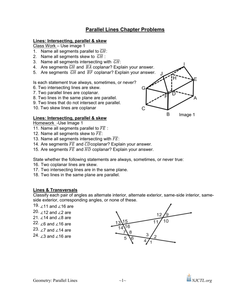 worksheet Parallel Perpendicular And Intersecting Lines Worksheets parallel and perpendicular lines