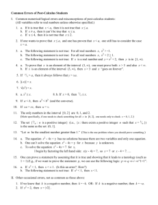 Common Errors of Post-Calculus Students (slightly revised, Nov 2012)