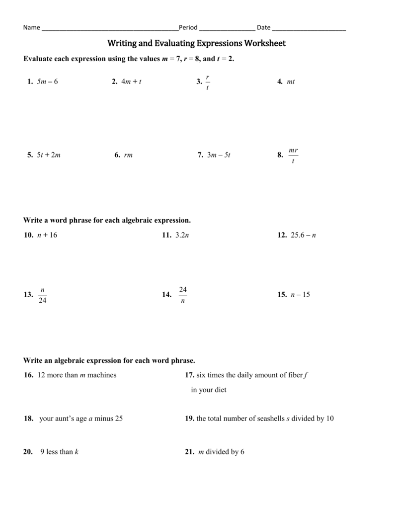 worksheet. Translating Algebraic Expressions Worksheets. Grass Fedjp ...