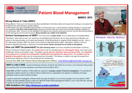 Patient Blood Management MArch 2015 Wrong Blood in