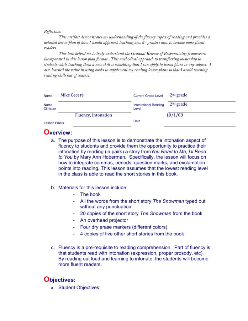 Artifact 2a1 Fluency Lesson Plan