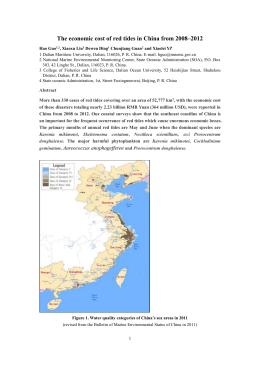The economic cost of harmful algal blooms in China from 2008-2012