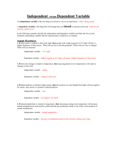 Independent versus Dependent Variable Worksheet