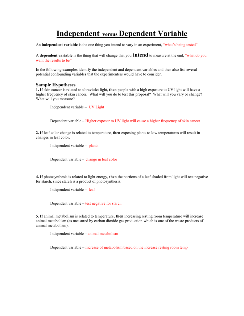 Dependent And Independent Variables Worksheet. Worksheets ...