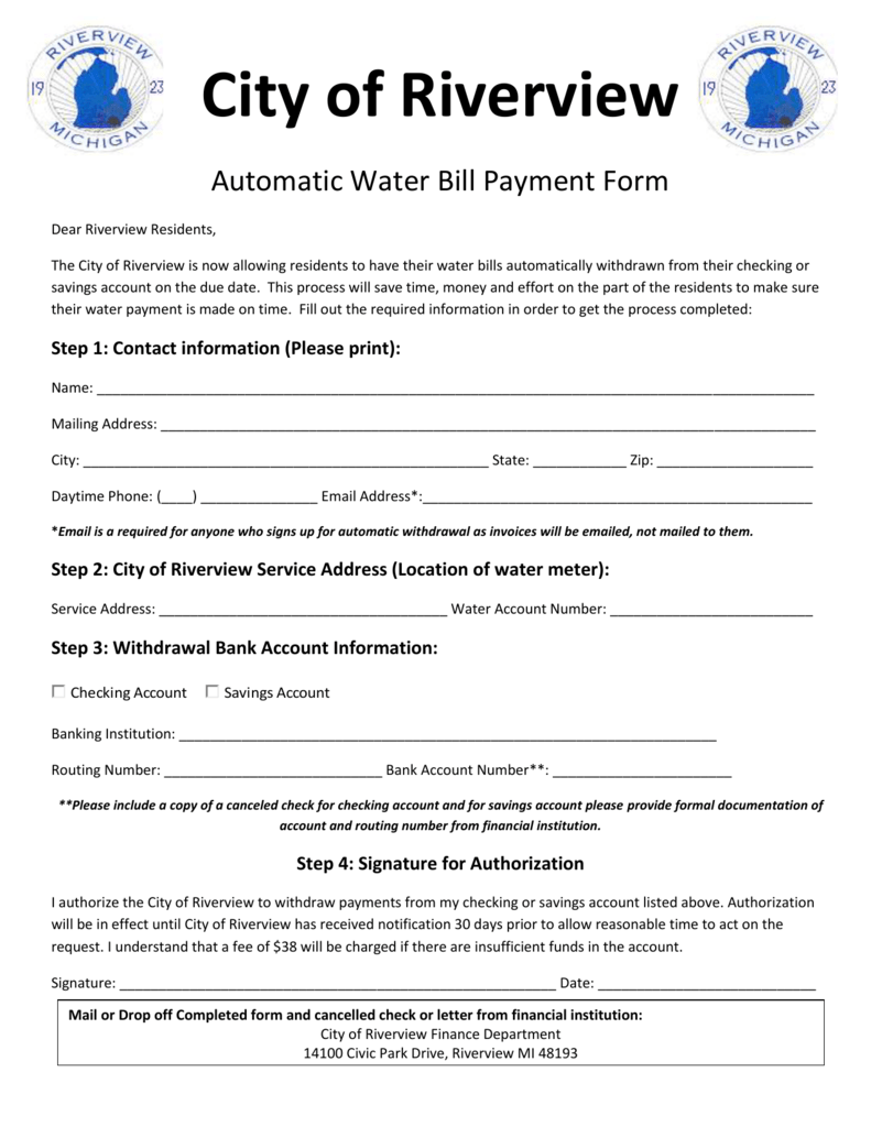 Automatic Water Bill Payment Form