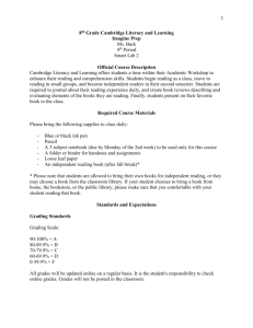 Cambridge Literacy and Learning (8th Grade) Syllabus