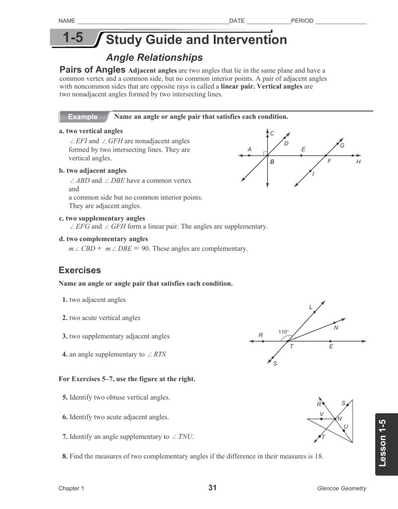 15 worksheet – Angle Relationships Worksheet