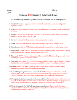 Fashion: KEY Chapter 1 Quiz Study Guide