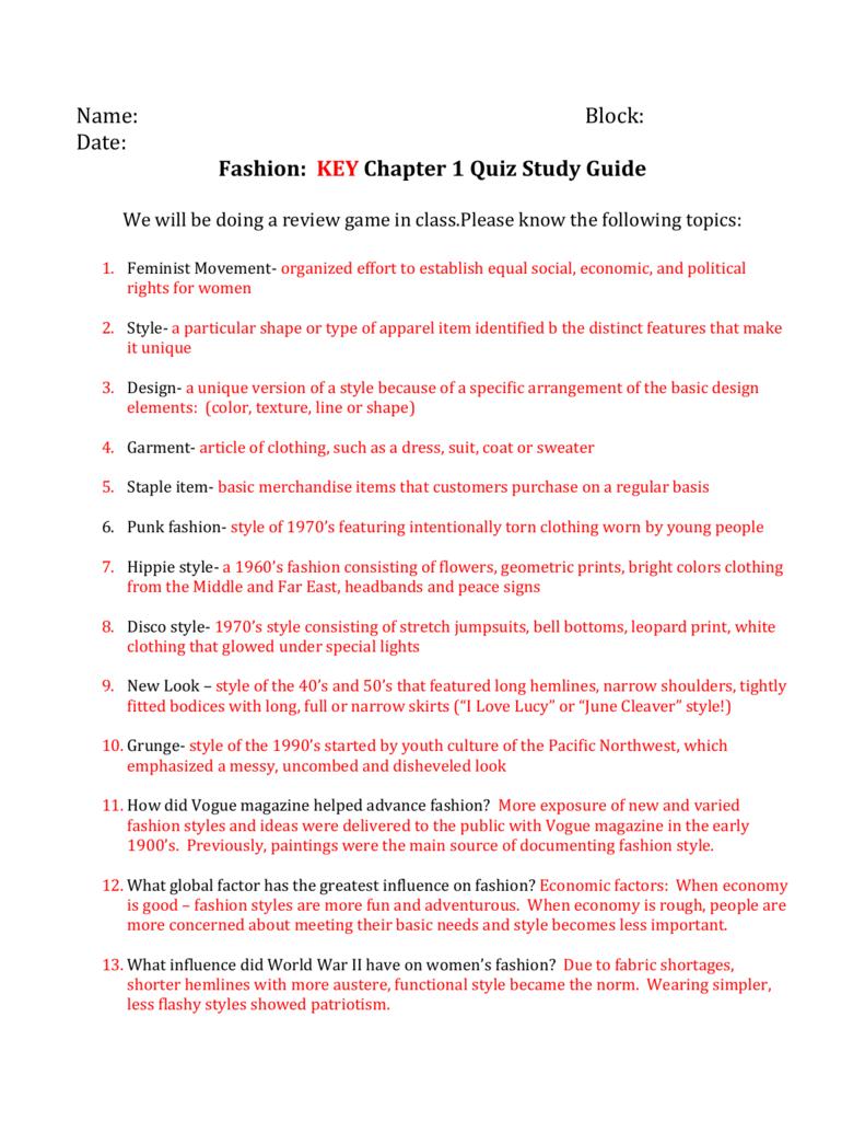 quiz 1 study guide
