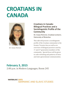 Croatians in Canada: Bilingual Practices and a Sociolinguistic