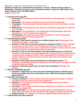 weather unit assessment study guide ch 1 the atmosphere rh studylib net earth's atmosphere study guide chapter 14 earth science atmosphere study guide