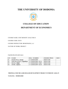 the university of dodoma college of education department of