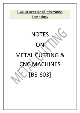 ME-603 Metal Cutting and CNC machines