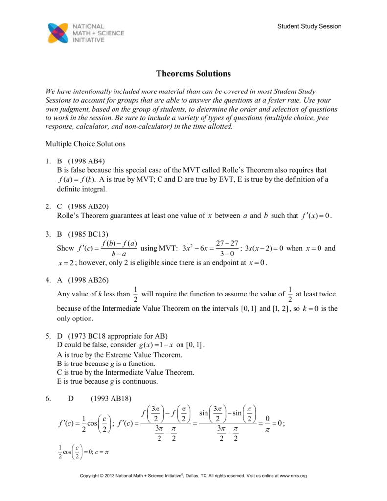 Major Theorems On The Ap Calculus Exam