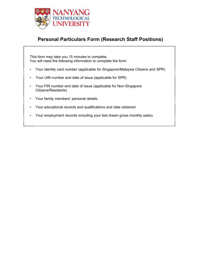 Personal Particulars Form (Research Staff Positions)