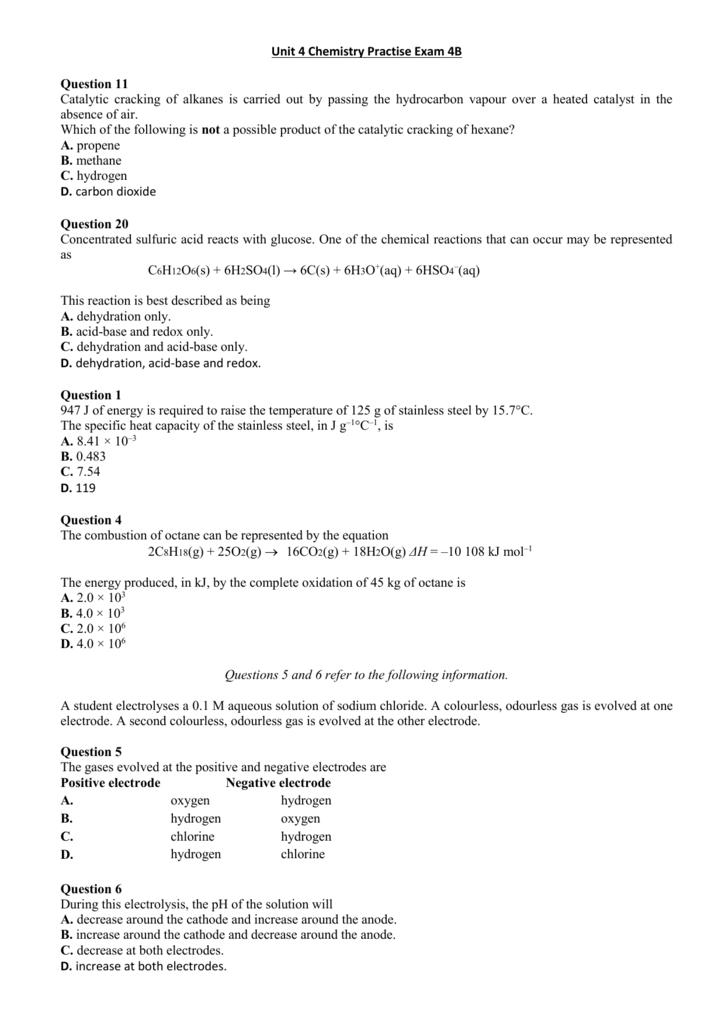 Unit 4 Chemistry Practise Exam 4B