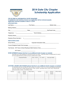 Gate City Chapter Scholarship Application