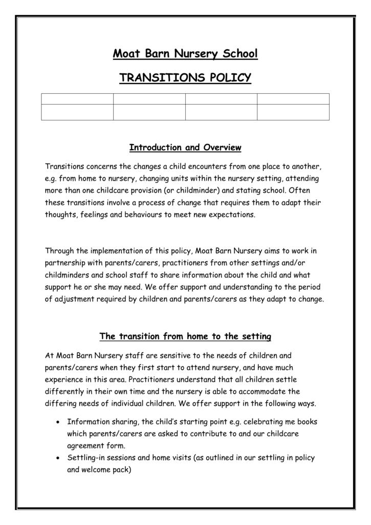 Moat Barn Nursery School Transition Policy
