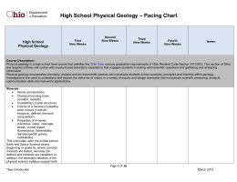 High School Physical Geology – Pacing Chart