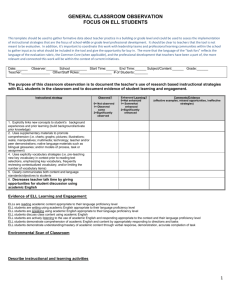 General Classroom Observation Template