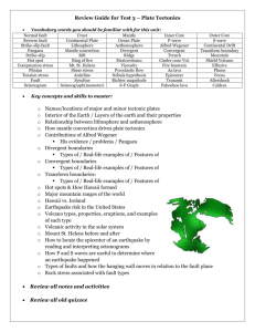Review Guide for Test 3 – Plate Tectonics Vocabulary words you