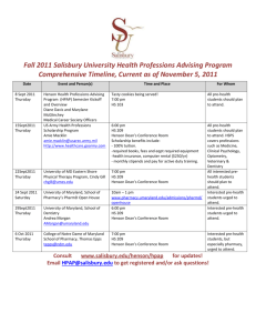Fall 2011 Salisbury University Health Professions Advising Program