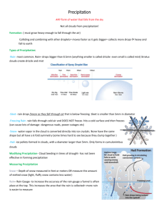 Precipitation Notes