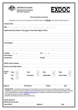 EDI registration form - Department of Agriculture