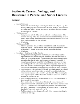 Section 6: Current, Voltage, and Resistance in Parallel and Series