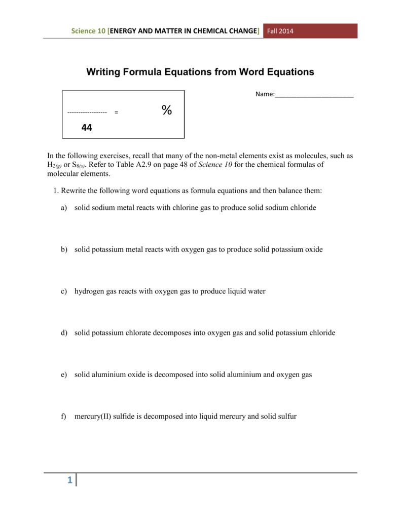 Writing Formula Equations Assignment