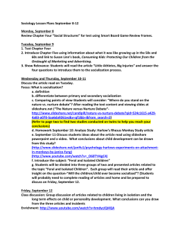 Sociology Lesson Plans September 8