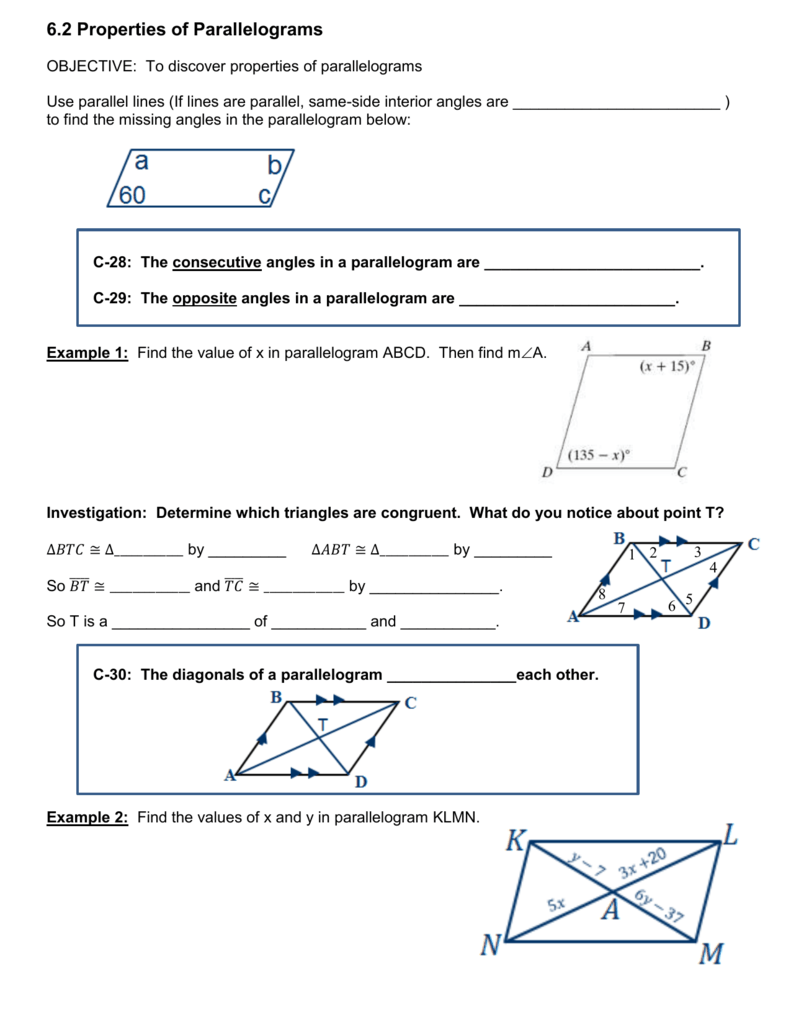worksheet Properties Of Parallelograms Worksheet Answers 6 2 properties of parallelograms