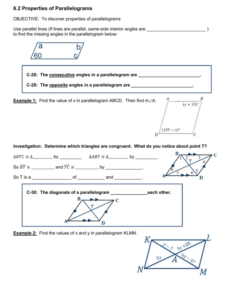 worksheet Special Parallelograms Worksheet 6 2 properties of parallelograms