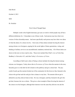 Critical Thought Paper