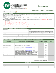 Application - Energy Star Rebate Form