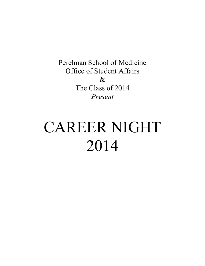 2014 Career Night Booklet - University of Pennsylvania School of