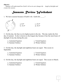 Seasons Review Worksheet Answers