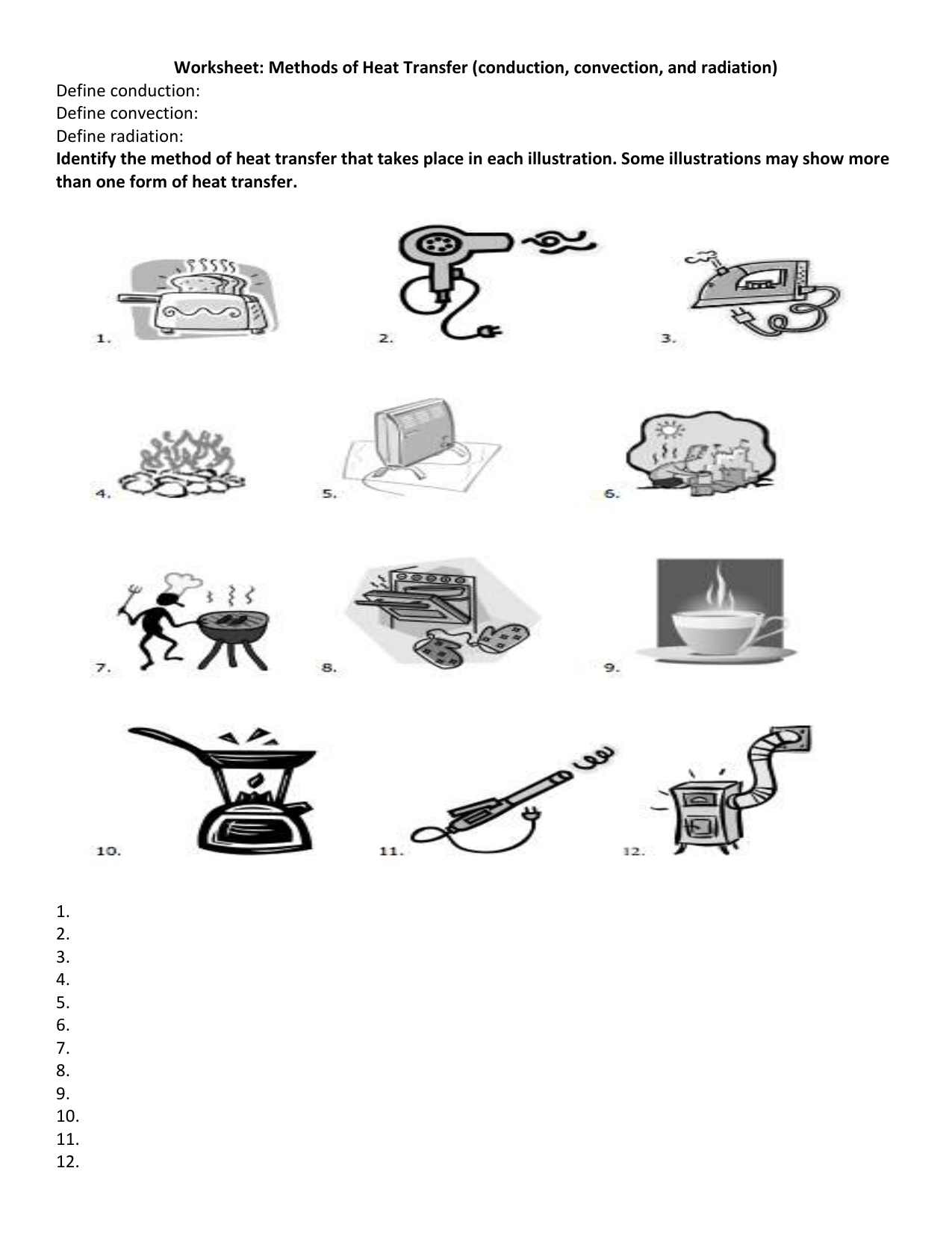 Worksheets Worksheet Methods Of Heat Transfer methods of heat transfer worksheet