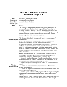Director of Academic Resources Whitman College, WA