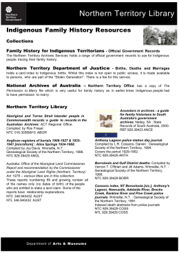 Indigenous Family History Resources