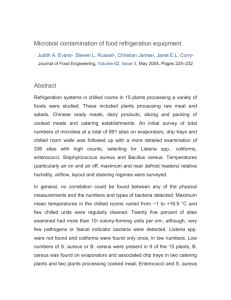 Microbial contamination of food refrigeration equipment