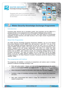 About the Water Security Knowledge Exchange Programme