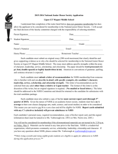 2015-2016 National Junior Honor Society Application Ligon GT
