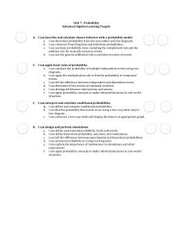 Unit 7: Probability Advanced Algebra Learning Targets I can