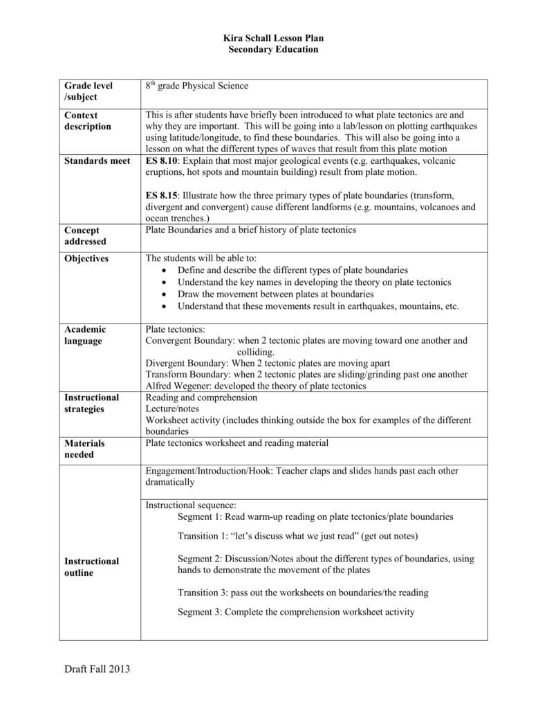 Introduction to plate tectonics lesson – Types of Plate Boundaries Worksheet
