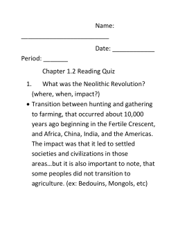 the neolithic revolution the neolithic revolution franklin board of education chapter 1 2
