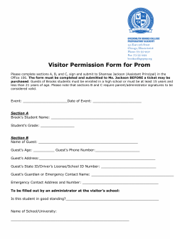 Visitor Permission Form for Prom
