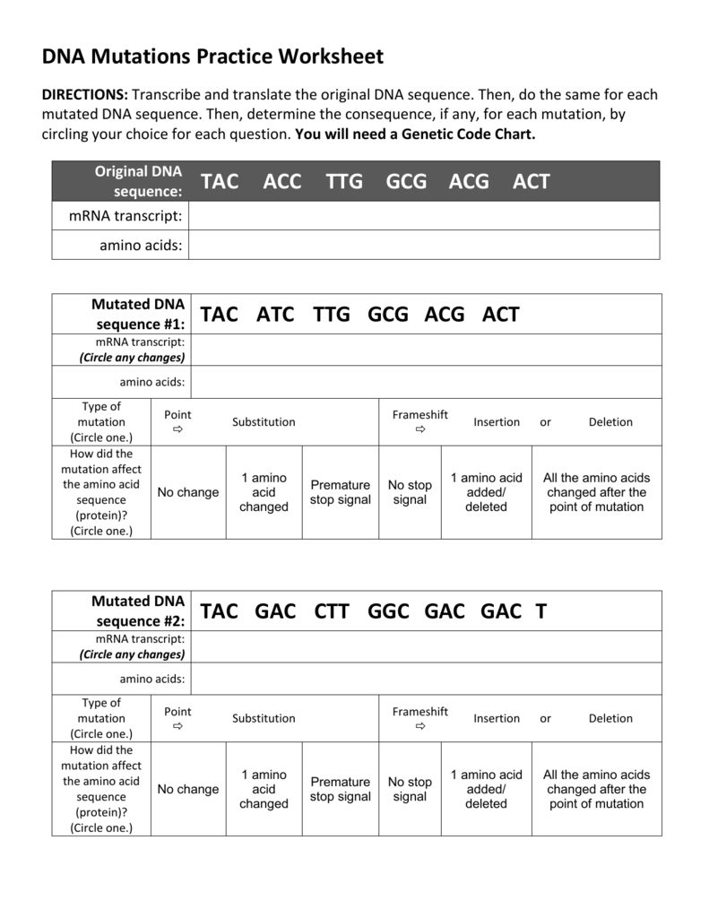 worksheet Genetic Code Worksheet dna mutations practice worksheet