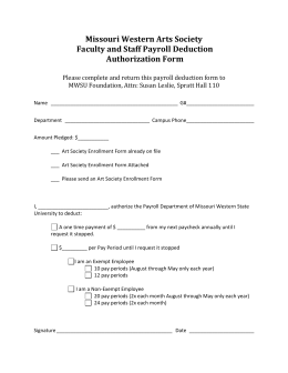 Payroll Deduct Form – Arts Society - Missouri Western State University